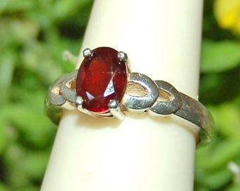 Red Garnet Ring, Size 6.5, Natural Garnet, January Birthstone, Sterling Silver, Garnet Solitaire
