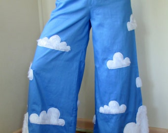 Cloudland - Hipster Wide-leg Pants, Sky & Cloud Raver Pants, Phat Pants