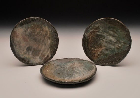 Set of Three - Slip Decorated Plates - Wood/Soda Fired