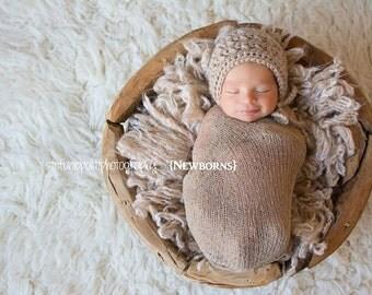 Newborn Baby Bonnet Hat Prop--Baby Bonnet Alpaca Blend in Sand/Tan/Beige for Baby Boy or Girl