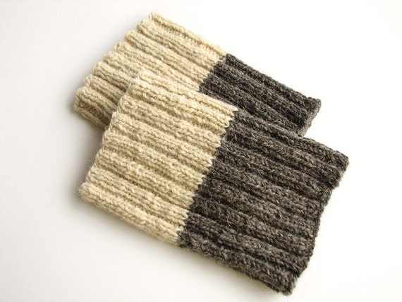 Hand Knit Reversible Ribbing Knit Warm Boot Cuffs - Boot Toppers, Legwarmers - Natural Organic Wool