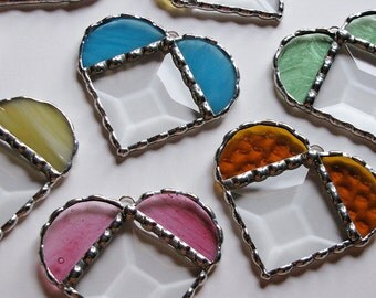 Stained Glass Suncatcher - Heart, Clear Glass Bevel with a touch of color, Ornament, Pick a Color