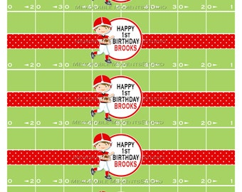 PRINTABLE WATER BOTTLE labels Football Party Collection - Football Player on Field Background - Memorable Moments Studio