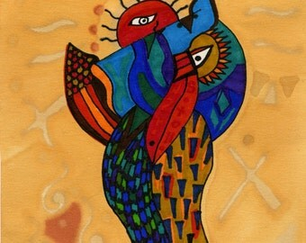 Abstract Owl Original Art Bright Colorful Sun Dog Artist Loree Harrell Print