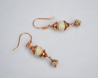 Jasper, Cream Magnesite and Copper Dangle, natural stone copper earring