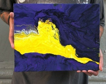 """Original Acrylic Painting, Purple and Yellow Abstract, 11 x 14"""" on Canvas Panel"""
