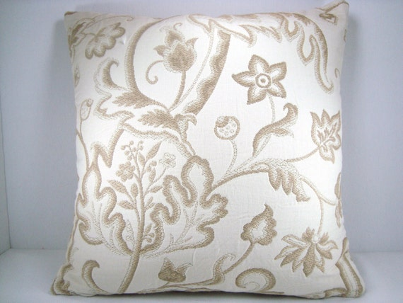 Decorative Accent Toss Embroidered Modern Taupe and Cream Pillow 18X18