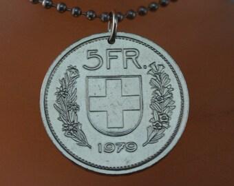 SWITZERLAND  NECKLACE -  vintage coin  jewelry - Swiss souvenir  - franc - confoederatio helvetica - Zurich  No.001681