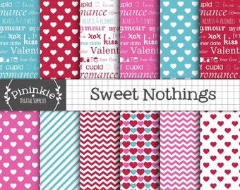 Valentines Day Digital Paper, Typography Scrapbooking Paper, Scrapbooking, Heart Digital Papers, Pink,Red,Instant Download,Valentine Digital