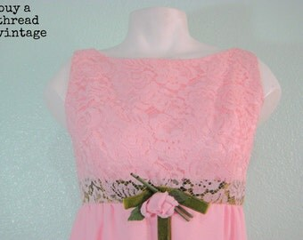 Vintage 60s Carnation Pink Lace Baby Doll Dress