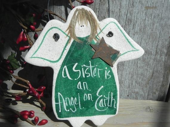 Sister Gift Angel Handpainted Salt Dough Ornament