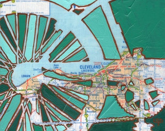 Bike Cleveland print - Cleveland Ohio bicycle art 13x13