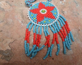 Folk Art Seed Bead Native American Star Pendant Necklace