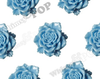 6 - Large Sky Blue Bloomin' Rose Cabochons, Rose Shaped, 24mm (R6-035)