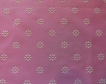 Vintage Fabric Flocked Pink White Daisies