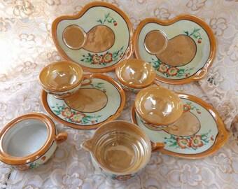 Peach Lusterware Bone china tea set Orange Poppies Made in Japan