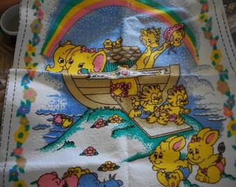 Noah's Ark Nursery Wall Hanging & Baby Bibs Fabric Panel