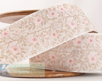Dog Rose Ribbon - White/Beige/Rose/Pink (1 meter, Item:100361-70-100), Made in Germany