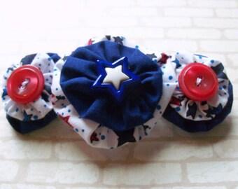 Patriotic Hand Sewn triple yoyo Barrette