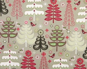 Birds on the Christmas Tree - Grey - JO-ANN - Cotton Fabric - 1 yard