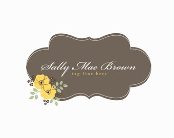 Vintage Style Logo design, customizable Pre-made Vintage floral yellow grey