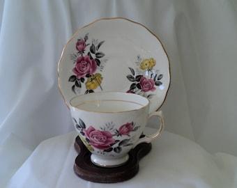 Vintage Tea Cup Royal Vale Pink and Yellow Rose Teacup/teacup