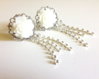 White Wedding Plugs Rhinestone Dangle Plugs 3/4 inch Gauges 19mm Rose Plugs Choose Color 11/16 inch 18mm Dangle Gauges