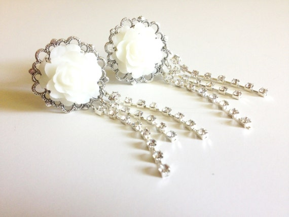 White Wedding Plugs Rhinestone Dangle Plugs 3/4 inch Gauges 19mm Rose Plugs Choose Color 11/16 inch 18mm Dangle Gauges