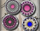 Silver Mandala - 20mm, 18mm, 16mm, 14mm and 12mm circles - Digital Collage Sheets CG-675 for Jewelry, Mini Bottle Caps