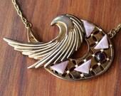 Gold swoosh vintage art deco necklace