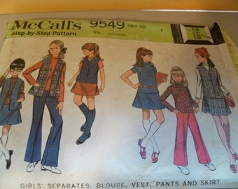1968 Size 7 McCalls 9549 Girls Blouse Pattern Girls Pants Pattern Girls Vest Pattern Girls Shirt Pattern Girls Separates Supply Mod 60s u