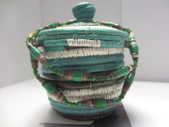 Handmade Baskets From Africa : Small handmade woven black white and green basket