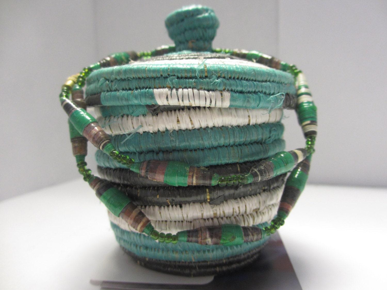 Handmade Small Baskets : Small handmade woven black white and green basket