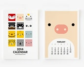 FREE SHIPPING - 2014 Calendar Cute Animal 4 x 6