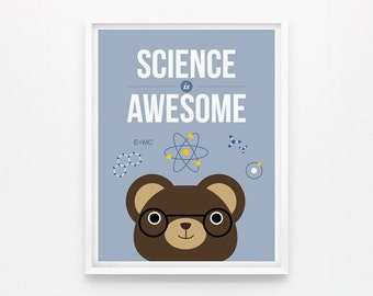 Science is Awesome, Children Decor, Playroom Art, Nursery Wall Art, Classroom Decor