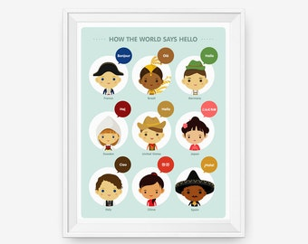 Children Decor How The World Says Hello with National Costume Children, Nursery Art, Children Decor, Classroom Decor
