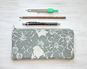 Linen  Pencil  pouch pencil case Back to school minimal floral grey gray Zen style