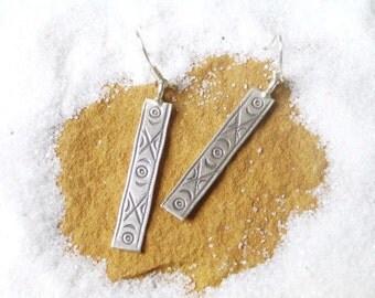 Thai Karen Hilltribe Silver Earring - The Charming Rectangle (1)