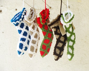 set of 5 christmas stockings monogrammed stockings crochet - Monogrammed Christmas Stockings