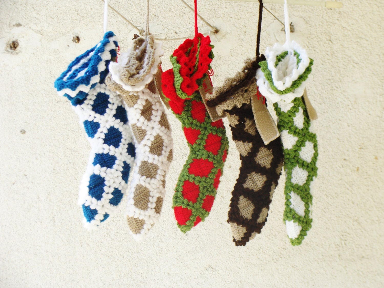 Set Of 5 Christmas Stockings Personalized Monogrammed