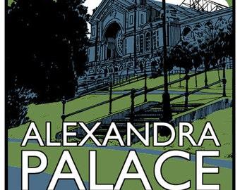 Vintage style screenprint poster - Visit Alexandra Palace