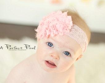 Shabby flower headband- Easter headband - Big flower headband- baby headband- pink flower headband