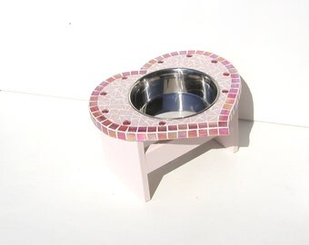 Ex-Large Single Bowl Feeder, 3 to 4.5 Qt heart diner, elevated dog feeder, raised dog bowl, mosaic pet station, large breed dog bowl