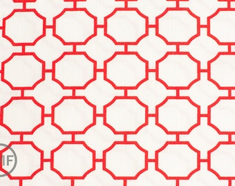 Half Yard Lattice in Scarlet Red, The Good Life, Wooster and Prince, Robert Kaufman, 100% Organic Cotton Fabric, AWA-11471-93 SCARLET