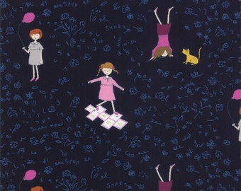 Half Yard Hello Petal Playtime in Darling Navy Blue, Aneela Hoey, Moda Fabrics, 100% Cotton Fabric, 18561 18