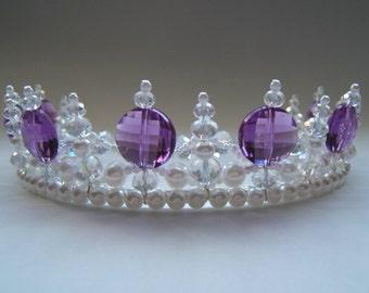 Princess Purple Regal Pearl and Crystal Tiara