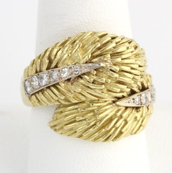 18k Yellow Gold Italian Designer Moba Feather .44ctw Diamond Ring - 1950s - 1960s