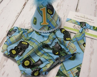 Baby boy / Toddler Necktie Party Hat & Diaper Cover First Birthday Photo Cake Smash Outfit in Blue John Deere