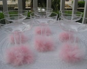 Set of 6, PInk Feather Champagne Disposable Glasses - Bachelorette Favor Glass, Pink Martini Glass, Pink Feather Glass, Bachelorette Favors