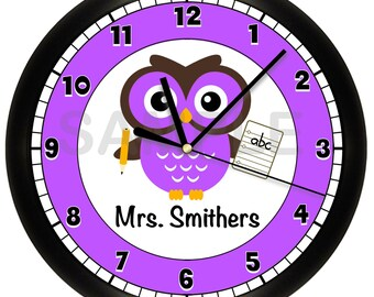 Personalized School Owl Wall Clock